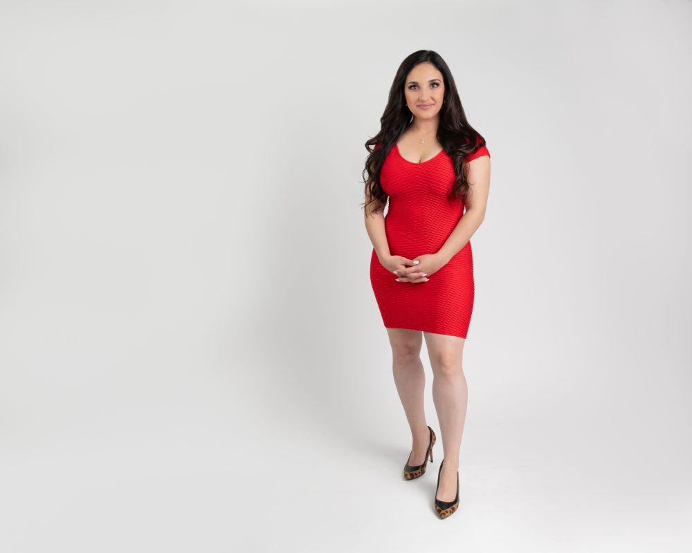 Red dress smiling woman portrait