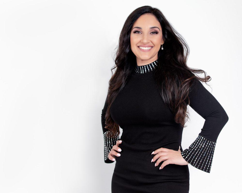 Black dress smiling woman portrait