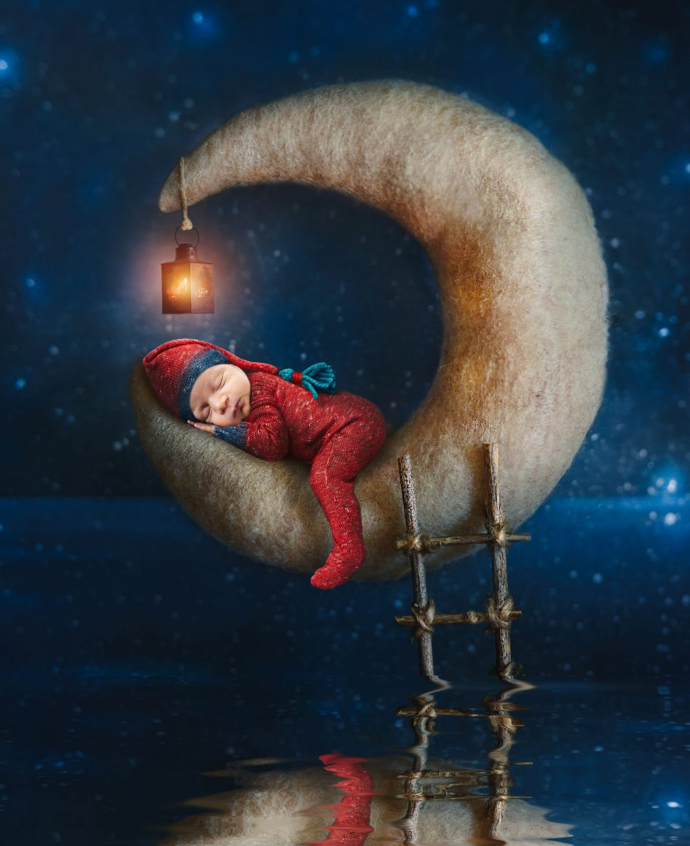 baby on a moon newborn photography cute baby photo