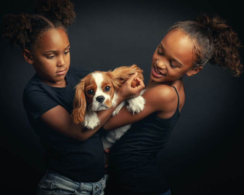 Kids with dog photo