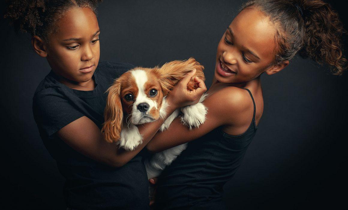 Kids with dog photo